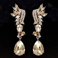 18K Gold Plated GP Topaz Crystal Rhinestone Wedding Drop Dangle Earrings 00449