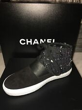 CHANEL SNEAKERS black TWEED AND SUEDE