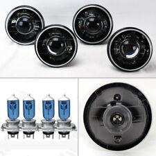 "FOUR 5.75"" 5 3/4 Round H4 Black Chrome Projector Glass Headlights w/ Bulbs Mercu"