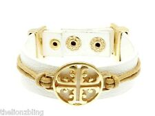 Urban Bohemian White Leather Bracelet with Gold Cross Pendant Bling
