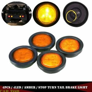 "4xAmber Yellow  2"" Round 4LED Side Marker Clearance Tail Light For Truck Trailer"