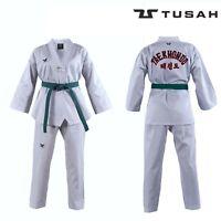 Tusah Kids WT Taekwondo Dobok Childs Suit White V-Neck Uniform Embroidered Back