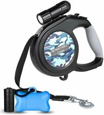 Dog Leash Retractable Extendable Harness Pet Lead Lock System LED Flashlight
