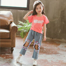 Korean Design Sequined Elastic Pants Girls Set - Blue (XYG060639)