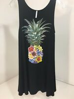 ACTING PRO WOMEN'S FLORAL PINEAPPLE TUNIC/SWING DRESS BLACK/MULTI SMALL NEW