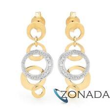 9ct Solid Yellow Gold Diamond Drop Stud Earrings 55206