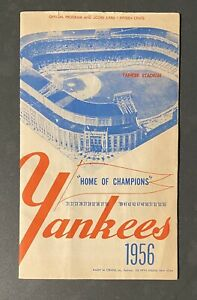 1956 New York Yankees V Boston Red Sox Program Scorecard Mickey Mantle