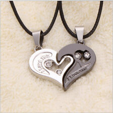 Top Selling Chic I Love You Matching Hearts Titanium Steel Lover Couple Necklace