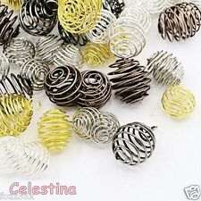 5 x Large Spiral Iron Bead Cages - Mixed Sizes - Gold Silver Copper Tones