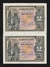 F.C.  PAREJA CORRELATIVA 2 PESETAS  ABRIL 1938 , SERIE H , S/C .