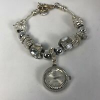 NY&C Womens Charm Bracelet Crystal Accent Quartz Analog Watch