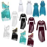 Girls Lyrical Ballet Dance Dress Kids Leotard Tutu Dancewear Party Skirt Costume