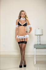 Sexy Black White French Maid Naughty Bra Lingerie Set UK 8-12 1559 Garterbelt