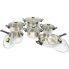 12 PC in acciaio Inox Casseruola Pentole Set Padella Pentola Padella Coperchi in vetro trasparente