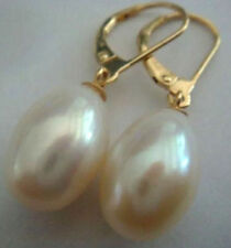 hot natural AAA+++ white south sea 11X13mm pearl dangle earrings 14K Gold
