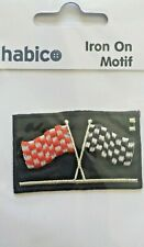 Habico Red & Black Chequered Flag Grand Prix Iron on Motif Patch Child or Adult