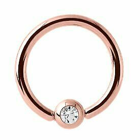 Rose Gold Jewelled Ball Closure Ring - Crystal - 1.6 x 8mm