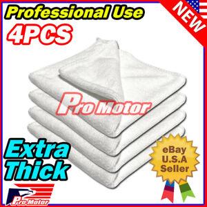 4PC White Microfiber Cleaning Cloth No-Scratch Rag Car Polishing Detailing Towel