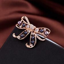 Broche Noeud Papillon Perle Bleu Marine Baroque Vintage Style Original XZ4
