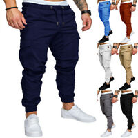 Men's Pants Jogger Urban Casual Pencil New Straight Trousers Fit Cargo Slim Leg