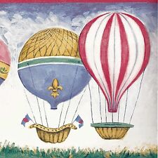Colorful Hot Air Balloons in Sky - Red Blue - ONLY $9 - Wallpaper Border A007