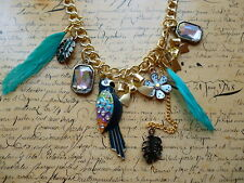 Gold Parrot Feather Bow Flower Crystal Necklace