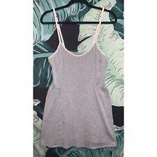 Gap Body Women's Gray & White Lace Strap Slip Dress Lounge Wear Size Medium