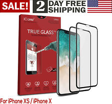 For iPhone Ten X XS Full Coverage Tempered Glass Screen Protector 0 3mm 9H 2 PC