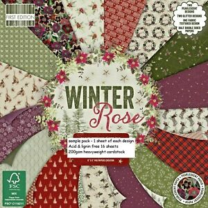 WINTER ROSE DOVECRAFT 6 x 6 Sample Paper Pack 200gsm 1 Of each design 16 Sheets