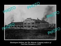 OLD POSTCARD SIZE PHOTO OF HUNTINGTON INDIANA THE MAJESTIC FOUNDRY c1910