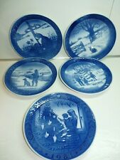 "Five (5) 7.25"" Royal Copenhagen Christmas Plates 1970 1971 1977 1979 1981"