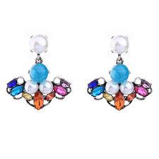 NEW Urban Anthropologie Ashira Colorful Rainbow Gemmed Pearl Drop Earrings