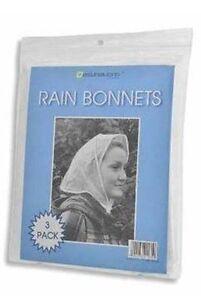 Rain Bonnets 2 x  3 Pack Hair Protection Hood Tie Fastening Dye Festival Cover