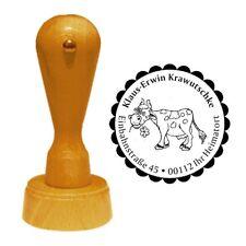 Stempel « KUH mit BLUME 02 » Adressenstempel Motiv Tier Bauernhof Bauer Landhaus