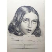Original Antique Master Portrait Drawing of a Young French Girl 1847