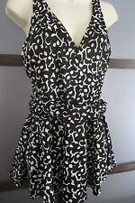 Vintage Palm Point Swimsuit Bathing Suit Black White Swimdress Sz 16