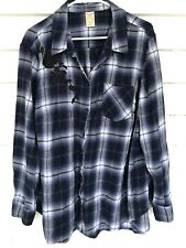 A6 faded glory 2x 18/20 Plus Plaid Button Front Long Sleeve Blue Black Floral