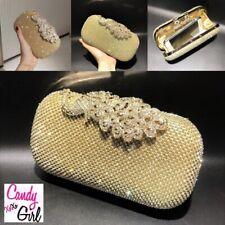Gold Crystal Rhinestone Diamante Peacock Evening Wedding Party Clutch Bag
