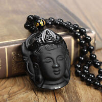 Natural Obsidian Lucky Carved Buddha Pendant + Beads Necklace Amulet Black *