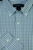 Bloomingdales Men's Brown White Blue Check Cotton Casual Shirt M Medium