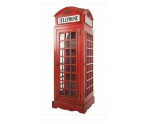 Wooden Vintage Red Telephone Box