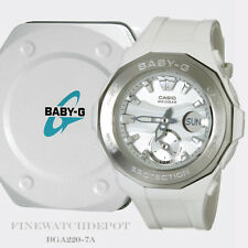 Authentic Casio Baby-G Beach Glamping White/Silver Ana-Digital Watch BGA220-7A