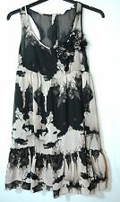 BLACK BEIGE LADIES PARTY COCKTAIL DRESS NEW LOOK SIZE 10/38 TUNIC STYLE