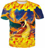 New Women Men Anime Charizard Print Cusual Short Sleeve 3D T-Shirt Tee Tops
