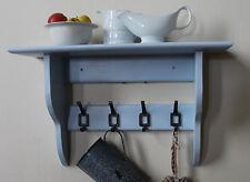 Bathroom kitchen or hallway shelf with vintage style hooks