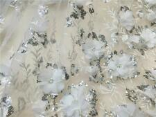 "Beaded Corded Embroidery Wedding Lace 51"" 3D Off White Bridal Lace Fabric 1/2 Y"