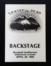 Grateful Dead Backstage Pass Birmingham Alabama 4/28/1980 Go To Heaven Mouse Art