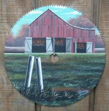 """Hand Painted Saw Blade 7 1/4"""" Tobacco Barn A"""