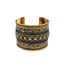 Ornate Brass Cuff Gold Metal Bracelet Ethnic Gauntlet Gypsy Patina Bracelet
