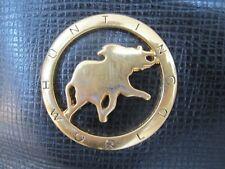 Hunting World Black Leather Handbag Purse Bag With Animal Logo Plate Italy